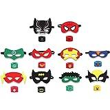 INTVN 10pcs máscaras de superhéroes y 10pcs Superhero Slap Band Pulseras,Accesorio de Fiesta Infantil y Adultos, Máscaras de