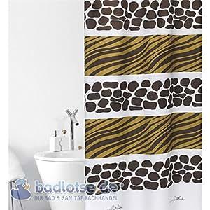 """""""SAVANA Rideau de douche Blanc motif zébré africain Marron/jaune/motif girafe &Textile 180 cm largeur x 200 cm de long avec anneaux inclus"""
