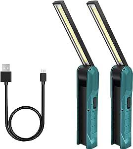 Led Arbeitsleuchte Taschenlampe Guiseapue Werkstattlampe Falten Wiederaufladbare Workshop Lampe Arbeitslampemit Magnetischen Base Für Auto Reparatur Camping Notbeleuchtung Grün 2 Stück Baumarkt