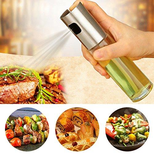 JIM'S STORE Öl Sprüher Pump, Glas Öl Essig Spender Flasche Küche Werkzeug für Pasta, Salate, Grills und Barbecue (100 ml)
