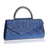 LWZY Abendtasche,Abendessen-tasche,Clutch handtaschen Für frauen hochzeit und party -Blau 6x13x26cm(2x5x10inch)