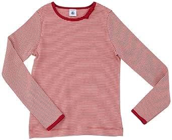 Petit Bateau - T-shirt à manches longues - fille - multicolore (rubis/coquille) - 8 ans