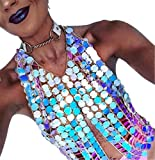 LCLrute Dame resin sequin body chain Summer Beach Shiny Sequins Bra Chest Body Chain Necklace Fashion Jewelry (Colorful)