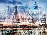 Artland Qualitätsbilder I Bild auf Leinwand Leinwandbilder Wandbilder 40 x 30 cm Architektur Architektonische Elemente Digitale Kunst Blau A8VG Hamburg Abstrakte Collage