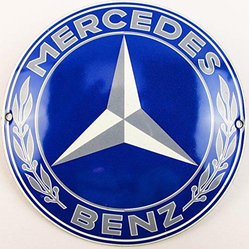 Neues Emaille Schild Mercedes 12cm Rund, Classic Werbeschild Reklameschild 50er Jahre Life Style Retro Fifties