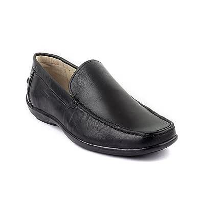 woodland black leather formal shoes