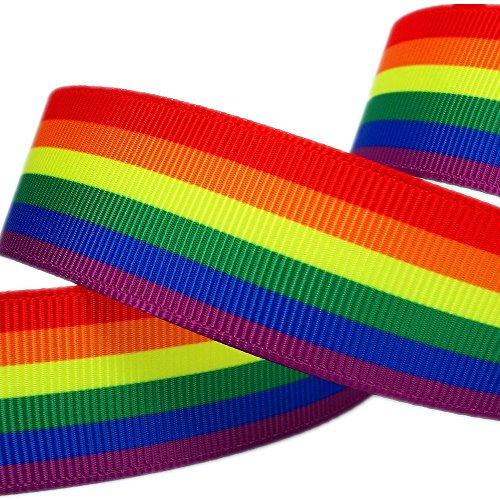 White Stripe Grosgrain (20 Yard Rainbow Stripes Printed 1 White Solid Grosgrain Ribbon by Dakota Girl)