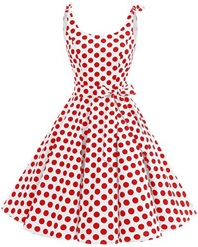 bbonlinedress 1950er Vintage Polka Dots Pinup Retro Rockabilly Kleid Cocktailkleider White Red Big Dot 3XL
