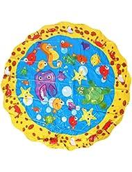 Tapis Jet d'Eau pour Bébés Enfants Tapis de Jeux Aquatique Mini Piscine Rond en Dessins Animés