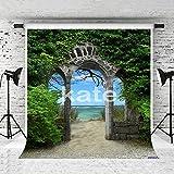 KateHome PHOTOSTUDIOS 5 x 7ft(1,5x2,2m) Foto Hintergrund Baumwolle klappbar Hintergrund grün Leaf Blue Sky Sea Old Stone Arch Fotografen Hintergrund für Hochzeit Bilder