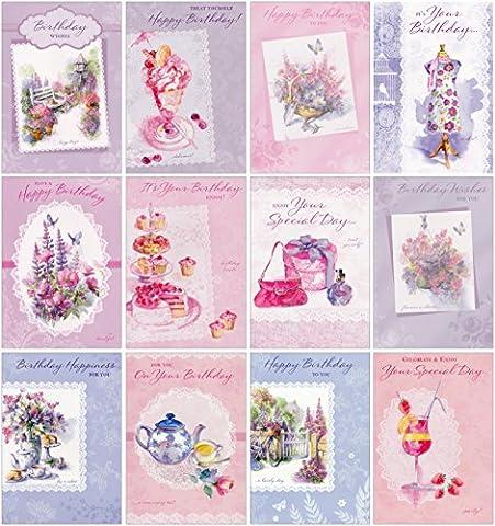 Greetingles assortis Lot de 12cartes d'anniversaire Design femelle Art élégant et enveloppes Motif cupcakes, tasses à thé, motif floral