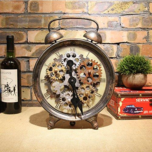 Style américain Rétro Mobilier de maison Fer en métal Équipement antique Horloge Cafe bar Supports de fenêtre 35 * 25 * 7cm