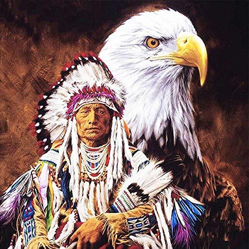 dbzlp 5D DIY Bohren Voll Diamant Malerei Eagle & Indians Stickerei Diamant Kreuzstich Strass Mosaik Decor -