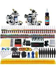 Solong Tattoo® Kit de Tatouage Complète 2 Machine à Tatouer Professionnelle 54 Encres Alimentation Aiguille Peau de Pratique de Tatouage Tattoo Kit Set TK252