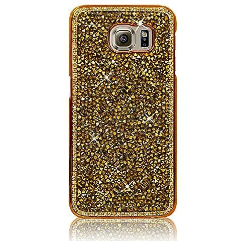 Xtra-Funky Reihe Samsung Galaxy S7 Kristallrhinestone-Felsen harter Fall mit Sekt Diamante Kanten und Chrom-Rim - Gold