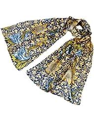 Prettystern - P975 180/55 cm William Morris dekorative Malerei Druck handrollierter Seidenschal - Sonnenblumen