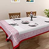Rajasthan Decor Set Of 7 Hand Block Cotton 6 Seater Table Cover With 6 Napkins- Red And White