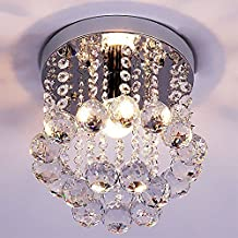 ZEEFO Lámpara Araña de Techo de Cristal, Luminaria Mini Estilo Moderno Decoración Instalación Fija con Lámpara de Techo de Cristal K9 para Recibidor, Barra, Cocina, Comedor, Habitación Niños