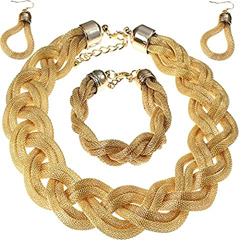 Gold braided woven plaited mesh bracelet, earring & necklace fashion