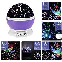 Luces para Niños, VSOAIR Lámpara de Luz de Noche Estrellada 3 modos Luz de Proyector Estrella (Púrpura)