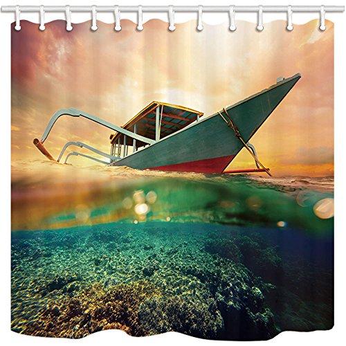 Kotom decorazioni nautiche tende da doccia, barca da sub a sunset corals in limpid underwater impermeabile tende da bagno in tessuto e 12 ganci, 69x70 pollici