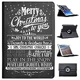 Fancy A Snuggle Nero Vintage Tipografia Natale in Similpelle Dotata di Copertura, con Supporto Verticale per Tablet Nero Joy To The World Let It Snow Apple iPad PRO 10.5' (2017 Version)