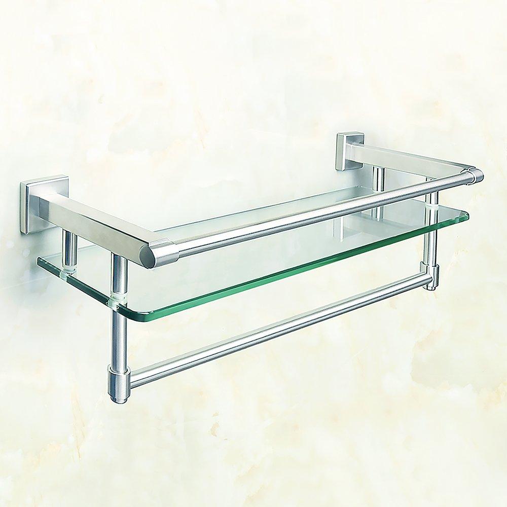 finitura in acciaio inossidabile con finitura cromata Mensola per bagno in vetro con mensola in vetro con binario a parete