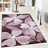 Pregiato Tappeto di Design A Pelo Corto Motivo Fiorale Quadrifogli Viola Lampone, Dimensione:80x150 cm