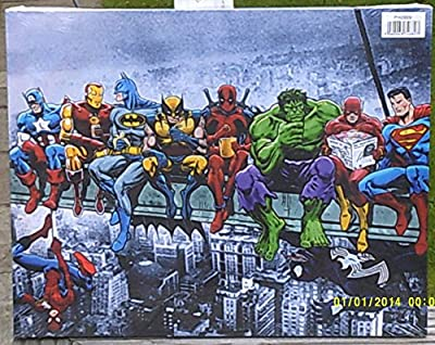 Marvel Comic Superheros Sat On Girder Canvas Wall Art - cheap UK canvas shop.