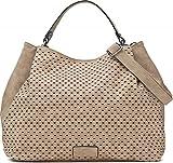 Umhängetasche in Beige - Damen Handtasche mit verstellbarem Schultergurt - Henkeltasche in Leder Optik - 40 x 29 x 13,5 cm - Hobo Bag von MIYA BLOOM