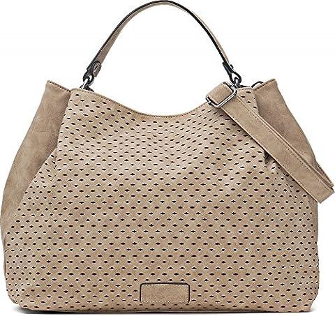 Umhängetasche in Beige - Damen Handtasche mit verstellbarem Schultergurt - Henkeltasche in Leder Optik - 40 x 29 x 13,5 cm - Hobo Bag von MIYA (Zwei Taschen Hobo)