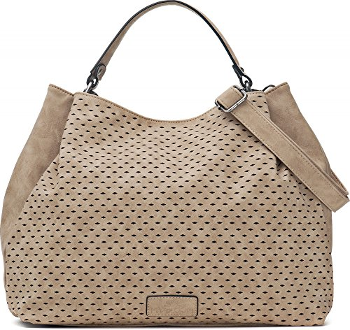 Umhängetasche in Beige - Damen Handtasche mit verstellbarem Schultergurt - Henkeltasche in Leder Optik - 40 x 29 x 13,5 cm - Hobo Bag von MIYA BLOOM (Handtasche Beige Damen)