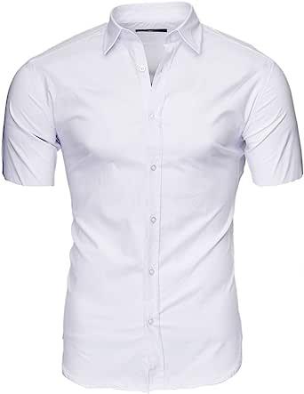 Kayhan Originale Uomo Camicia Slim Fit Facile Stiro Cotone Maniche Corte S M L XL XXL 2XL -Modello Unita Corte/Hawaii