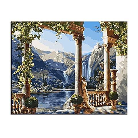 wonzom DIY Huile peinture peinture par numéro Kit Art Mural 40x 50cm, Toile, Goddess Manor, With Wood Frame