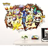 Cartoon Pokemon Wall Stickers For Kids Rooms Wall Decals Home Decorations Pikachu Poster 3D Effect Wall Art Children Mural