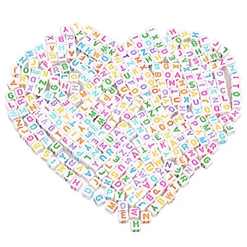 """500pcs Brief Perlen, Borte 6 * 6mm gemischte bunte Perlen Buchstaben Perlen gemischt für Schmuckherstellung """"A-Z"""" Cube Perlen für Armbänder Halsketten Schlüsselanhänger und Kid Schmuck"""