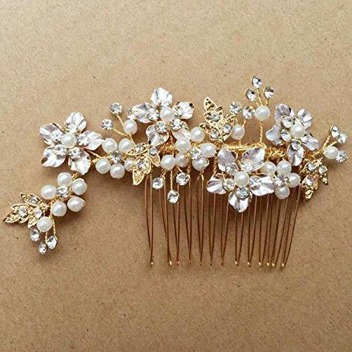 Vintage Gold Zweig Crystal Pearl Seite kämmt Braut Kopfschmuck Hochzeit Zubehör -