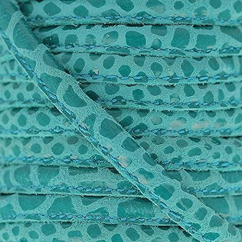 Cordón de cuero con puntadas vistas 4 mm Serpiente Turquesa x1