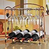 QIANGZI Weinregal Freistehende Europäischen Eisen Weinglas Hängenden Rack & Halter Regal Für Küche/Bar/Restaurant Bronze 8 Flaschen (größe : 1 Tier)