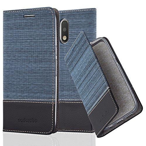 Cadorabo - Book Style Schutz-Hülle für > Lenovo (Motorola) MOTO G4 PLUS < case cover im Stoff - Kunstleder Design mit Kartenfach, Standfunktion und unsichtbarem Magnet-Verschluss in DUNKEL-BLAU-SCHWARZ