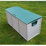 [Patrocinado]Al aire libre jardín plástico de almacenamiento Caja de baúl de plástico cojín cobertizo 248L
