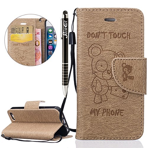 Custodia iPhone 5S,SainCat Custodia in pelle Protettiva Flip Cover per iPhone SE,Anti-Scratch Protettiva Caso Elegante Creativa Dipinto Pattern Design PU Leather Flip Ultra Slim Sottile Morbida Portaf doro