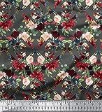 Soimoi Gray Cotton Jersey Stoff Geometric Shapes & Baccara
