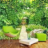 WH-PORP Benutzerdefinierte 3D Wandbild Natur in Tapetes Landschaft Grüne Rattan Garten Blume Wandaufkleber Fototapete Wald Tapete 3D-200cmX140cm