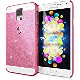 Samsung Galaxy S5 S5 Neo Funda Carcasa de NICA, Protectora Movil Purpurina Cubierta Dura Delgado Glitter Hard-Case, Bumper Cover Lentejuela Ultra-Fina para Telefono Samsung S5 Neo S5 - Fucsia Pink