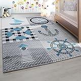 Kinderteppich Kinderzimmer Teppich mit Motiven Marine Kids 0510 Grau Blau - 160x230 cm