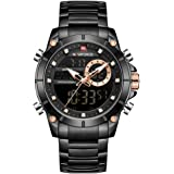 NAVIFORCE Luxury Stainless Steel Analog Digital Watch Waterproof Sports Quartz Multifunctional Wristwatch with Stopwatch Alar