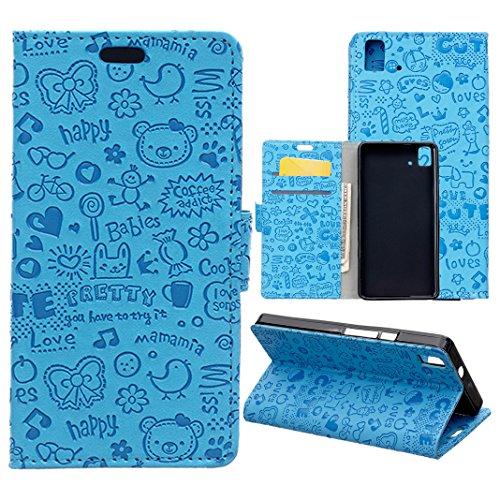 Funda Libro BQ Aquaris E5 4G,ZXK CO Caja de PU Leather Cuero para BQ Aquaris E5 4G Diseño Pequeña Bruja Tirón de Carpeta Interior TPU Silicona Ranuras para Tarjeta de Crédito Caso con Cierre Magnético Botón Tapa Trasera Soporte de Telefóno Flip Cover Carcasa Case-Azul