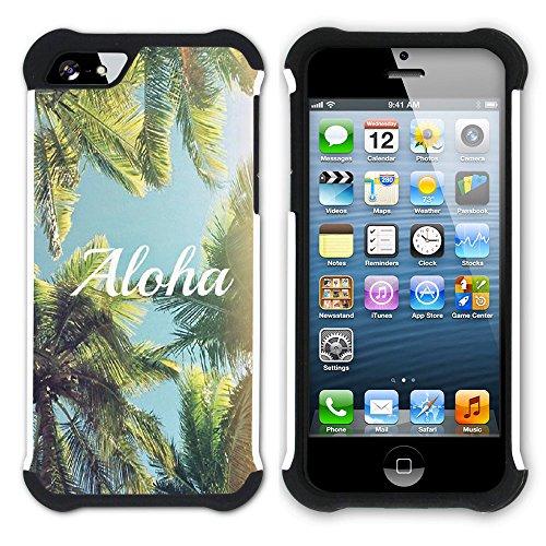 Graphic4You Hawaiisch Hawaii Postkarte Hart + Weiche Kratzfeste Hülle Case Schale Tasche Schutzhülle für Apple iPhone SE / 5 / 5S Design #17