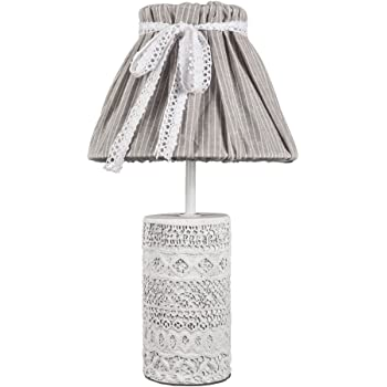 Lampada da tavolo vintage chic bianco grigio, ornato con base cemento Shabby Chic lampadina E14